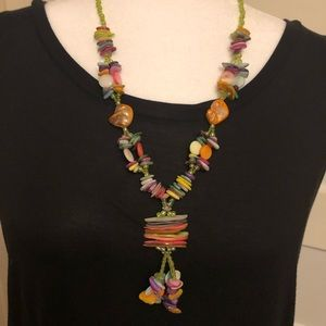 Colorful Sea Shell and Beaded Necklace